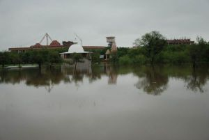 Area behind workshop under water as last year