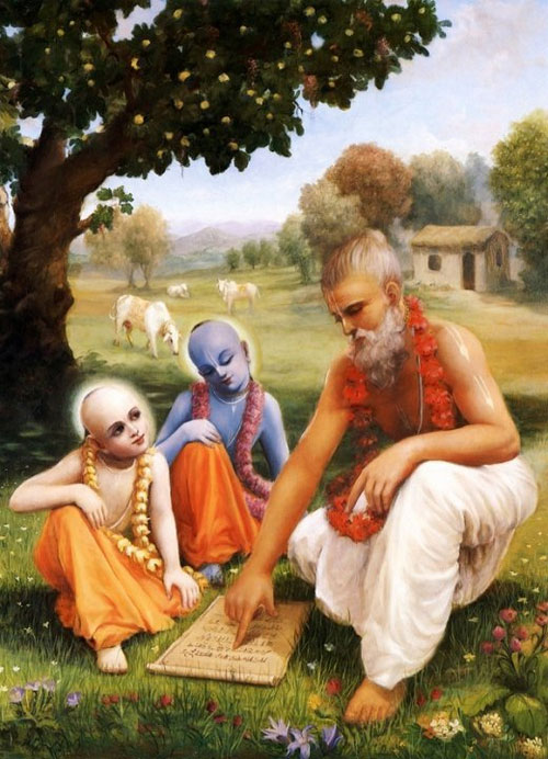 Guru Sandipani with Krishna and Balaram