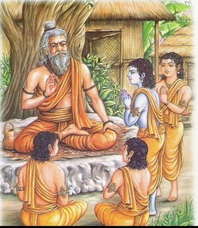 Guru Vashishtha teaching Rama and his brothers