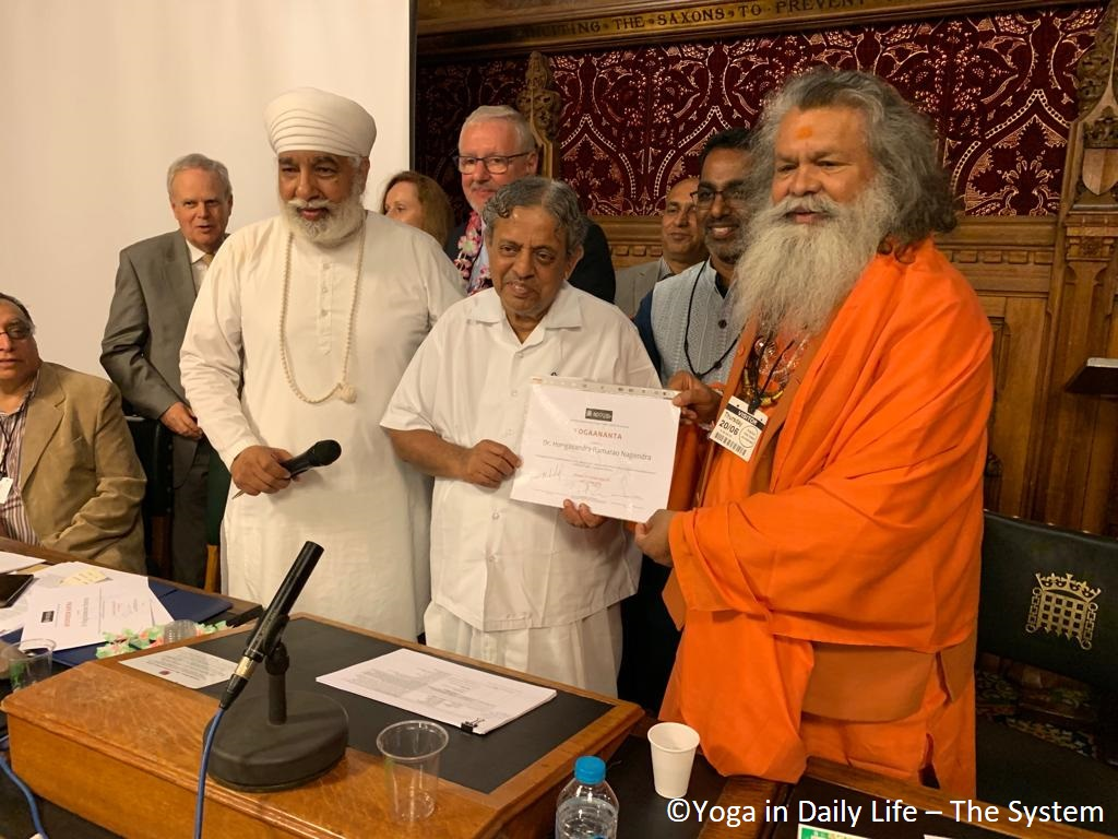HH Vishwaguruji receives Yoga Ratna Award at House of Commons in London