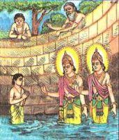 Upamanyu getting blessings of Rishi Uddalak and Ashwini Kumars