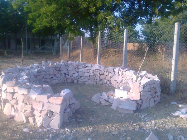 beginnings of a keyhole garden